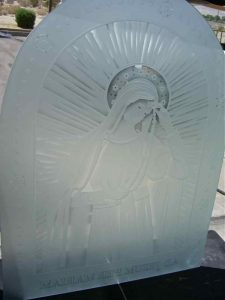 frosted glass portraiture our lady of lourdes sans soucie